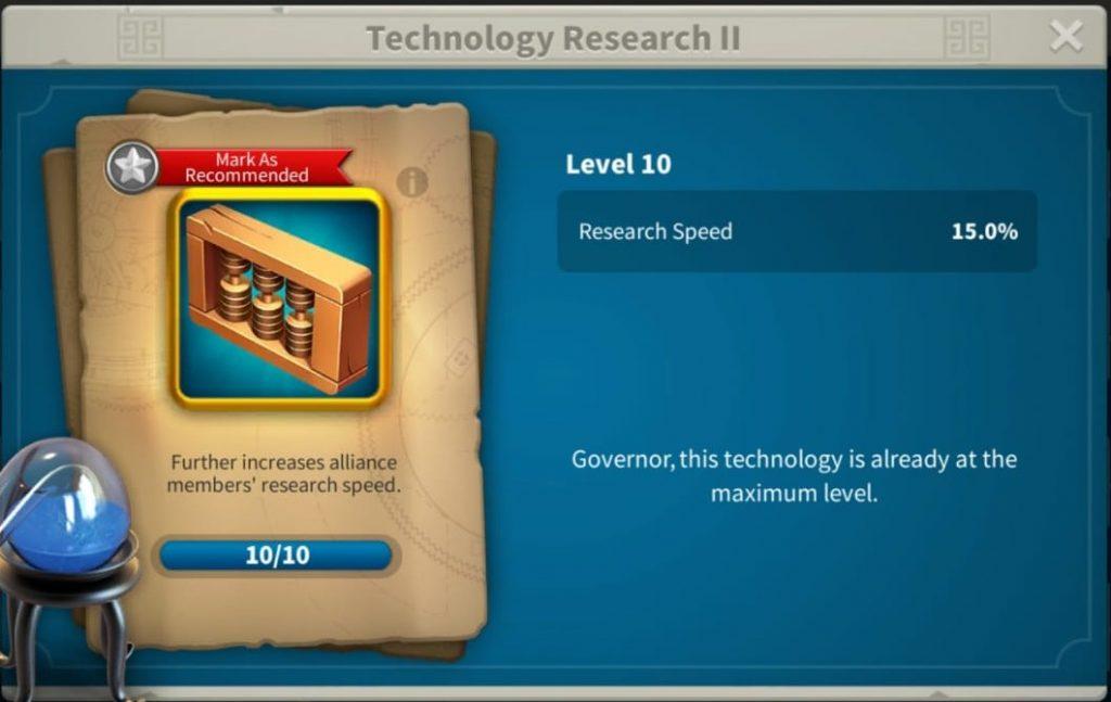 Alliance research bonus Rise of Kingdoms