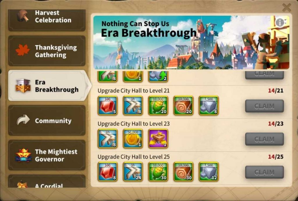 Era Breakthrough Rise of kingdoms event for city hall