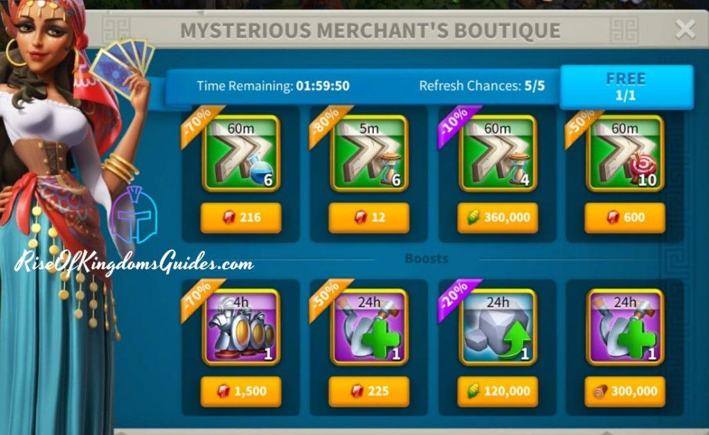 Mysterious Merchant Boutique Rise of Kingdoms