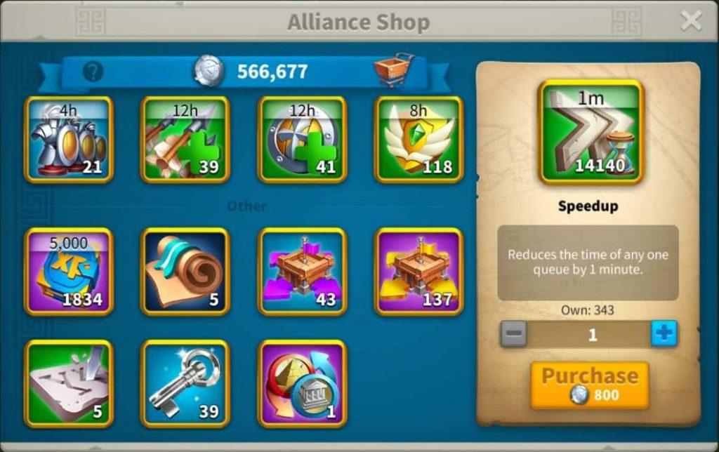Rise of Kingdoms Alliance Shop