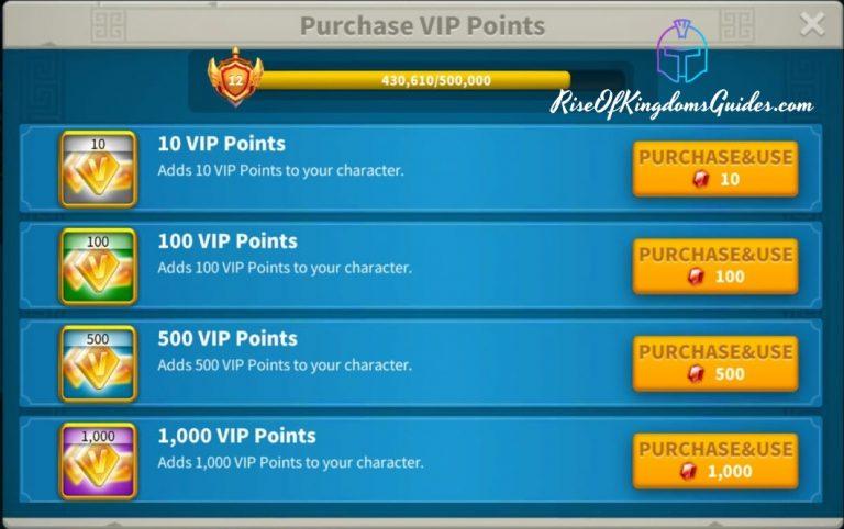 Rise of Kingdoms Gems VIP