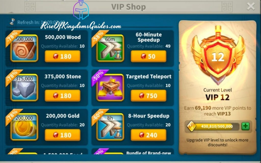 VIP Shop Rise Of Kingdoms