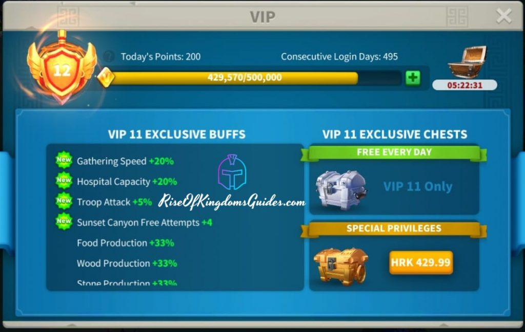Vip 11 will increase gathering Gathering speed Rise of kingdoms