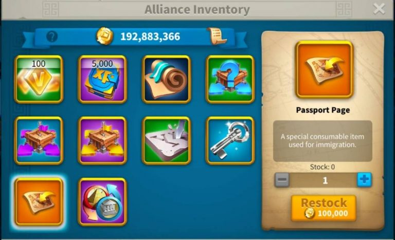 Rise of Kingdoms Migration and passport Shop
