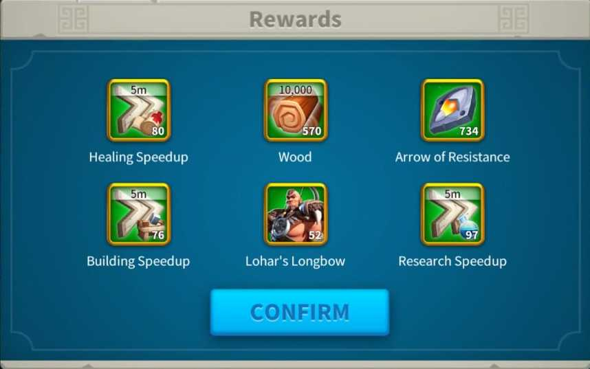 Rise Of Kingdoms LOHAR'S TRIAL EVENT Rewards from opening Bone Necklaces