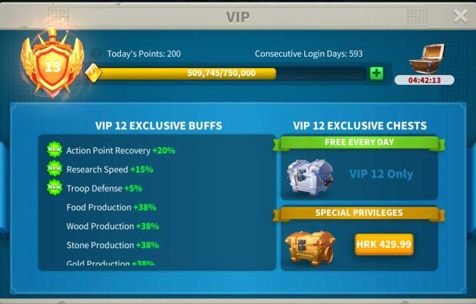 Rise of kingdoms action points recovery