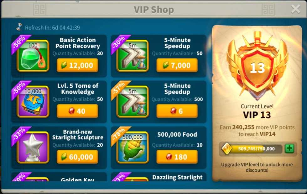 getting action points in rise of kingdoms with vip shop