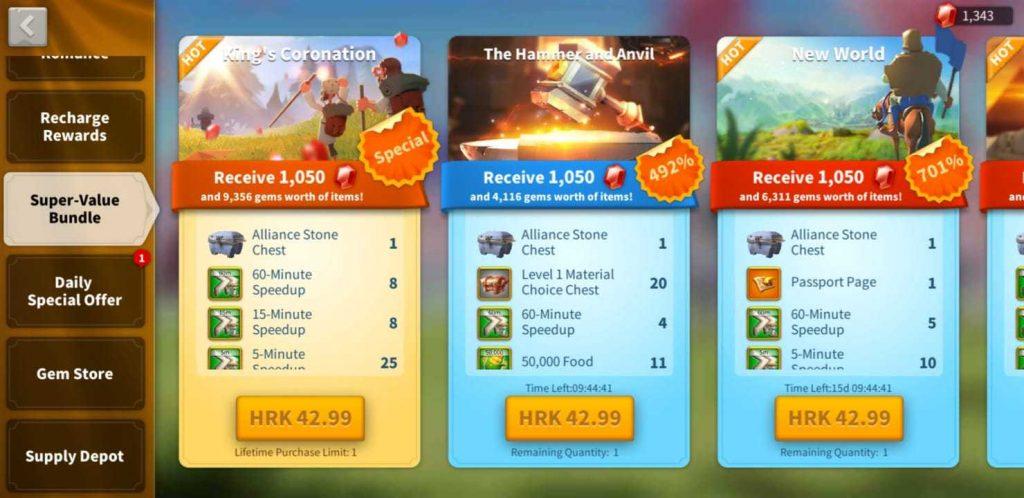 Rise of Kingdoms list of all Super-Value Bundles