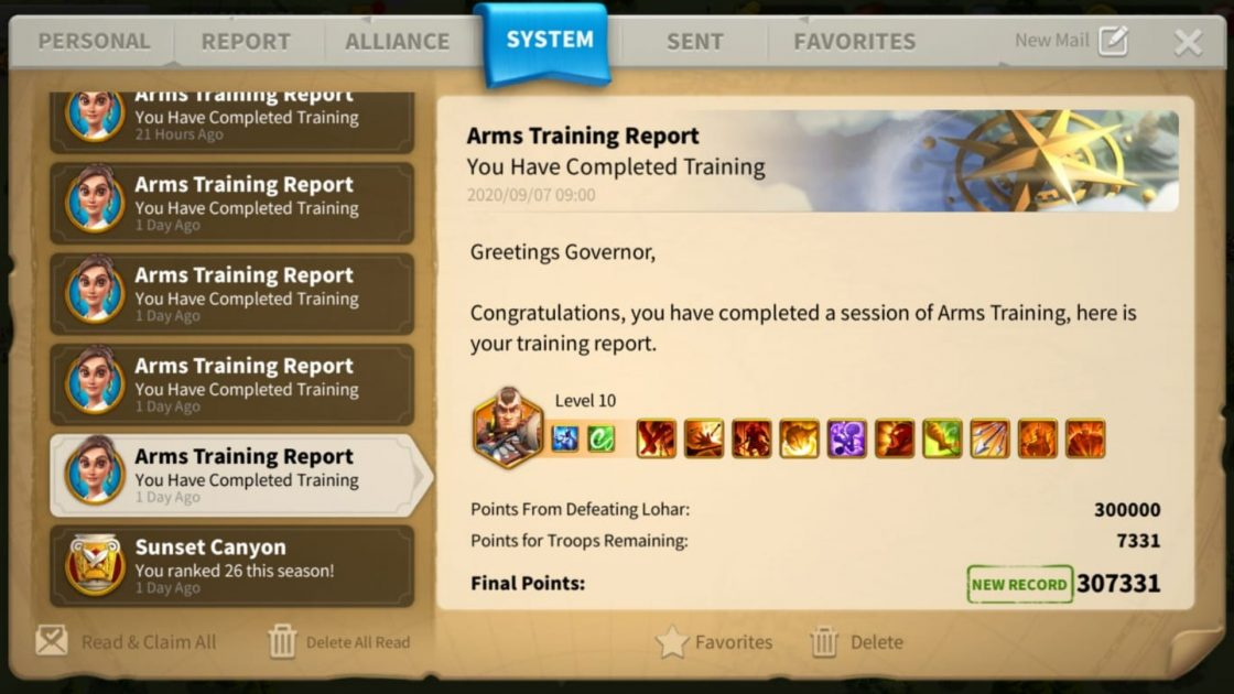 Arms Training Skill Order