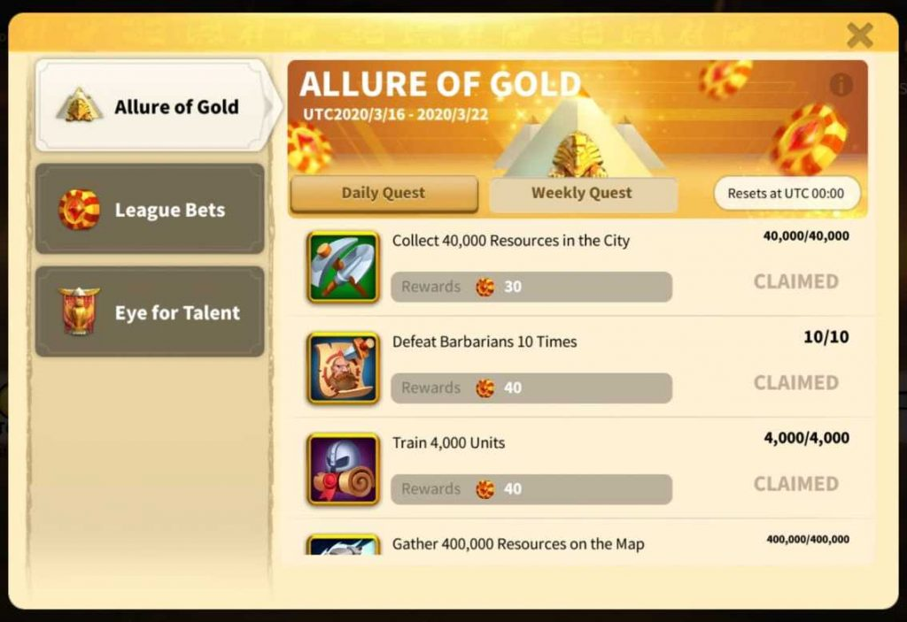 Rise Of Kingdoms Allure Of Gold