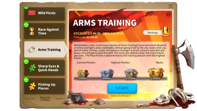 Rise of Kingdoms Arms Training