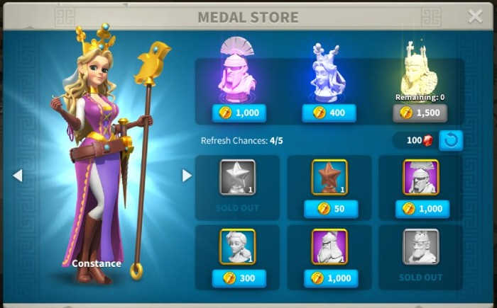 Rise of Kingdoms Medal store in expedition