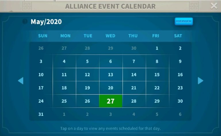 Rise Of Kingdoms alliance Event Calendar