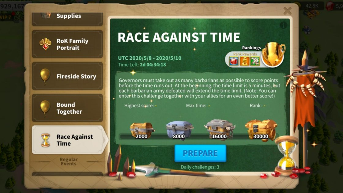 Rise Of Kingdoms Race Against Time Event