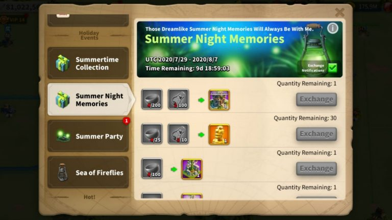 Rise Of Kingdoms Summer night Memories