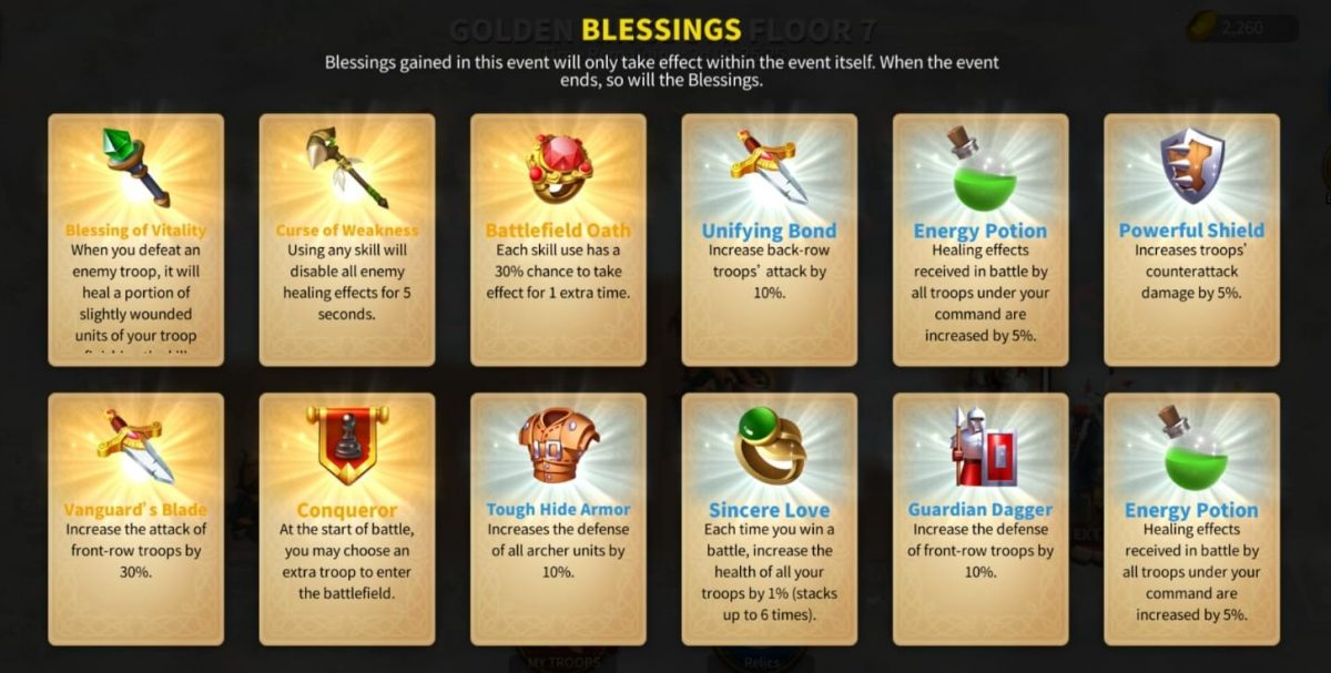 Rise Of Kingdoms The Golden kingdom event blessings