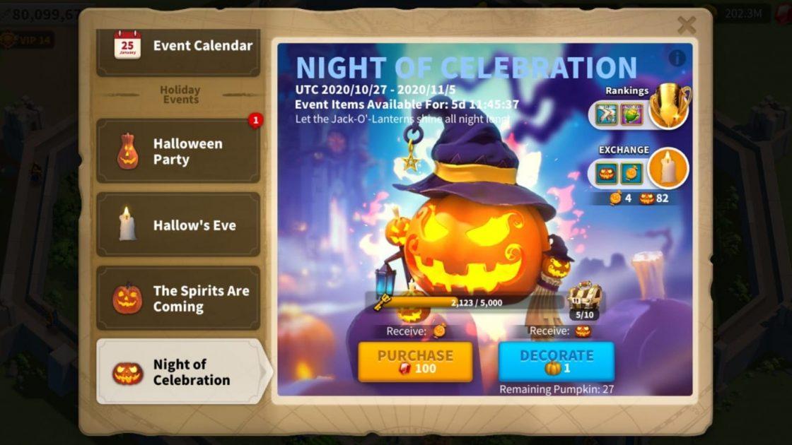 Night Of Celebration Rise Of Kingdoms Halloween Event