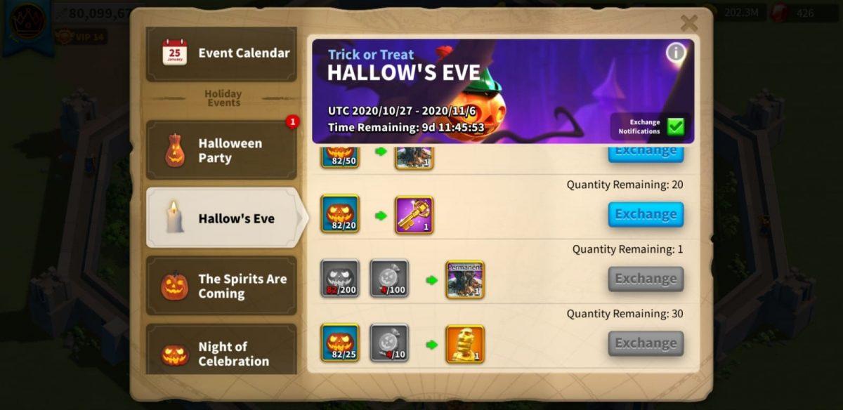 Rise Of Kingdoms Hallows Eve Rewards